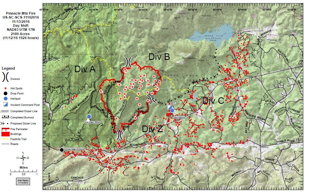 An updated map of the Pinnacle Mountain wildfire and containment efforts (Courtesy: SCFC)