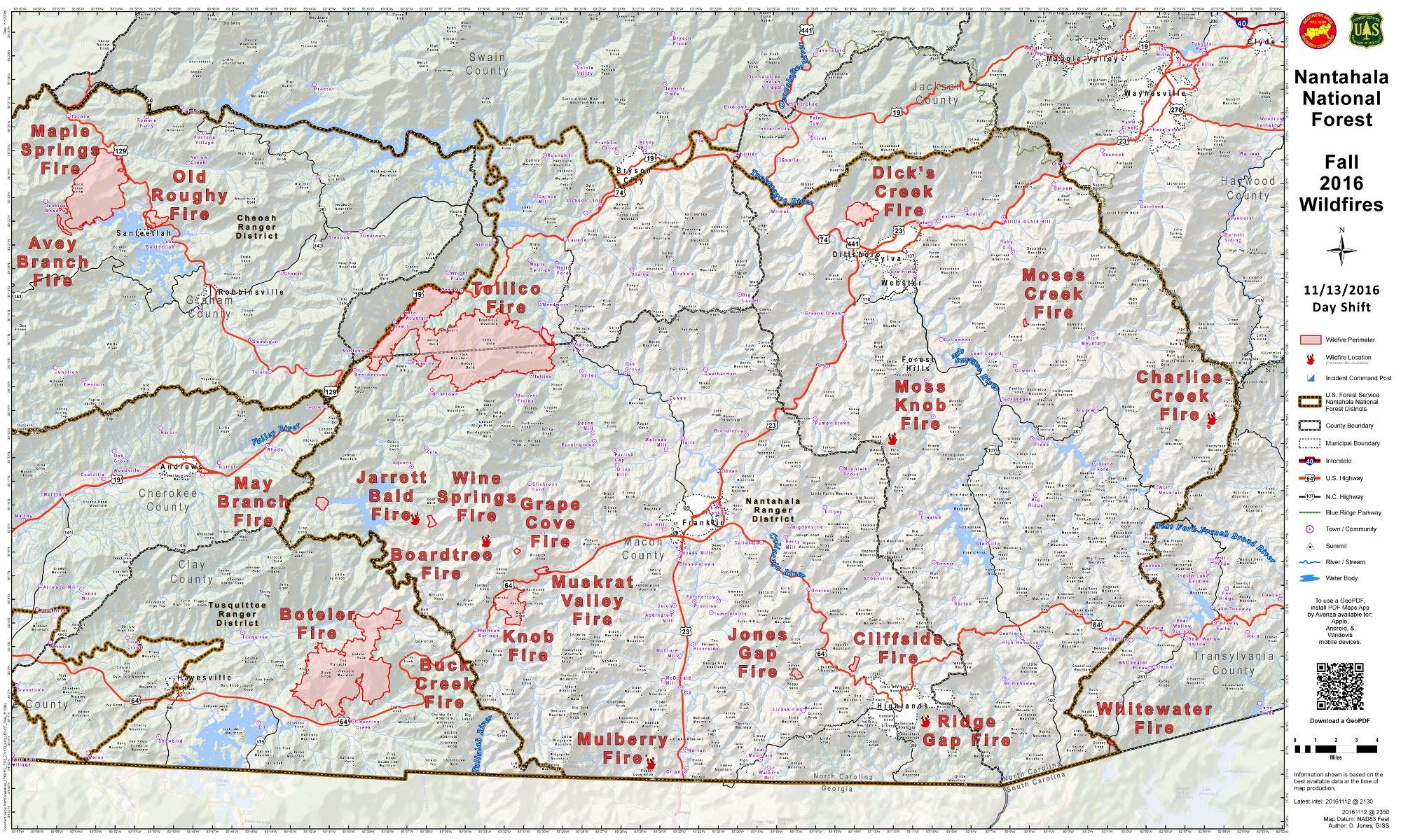 WNC fires as of Nov. 13, 2016. Courtesy: US Forest Service