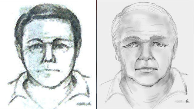 The man the FBI says was at the bank moments before the crimes took place. The right image is a time-enhanced sketch. (Source: FBI)