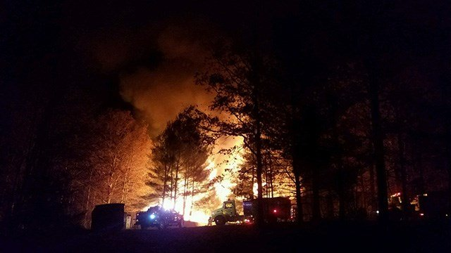 The scene of the fire at Camp Grimes in McDowell County. (Source: Dave Ritchie)