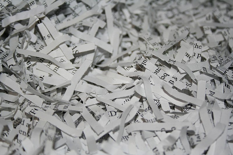 Shredded paper (Wikimedia Commons)
