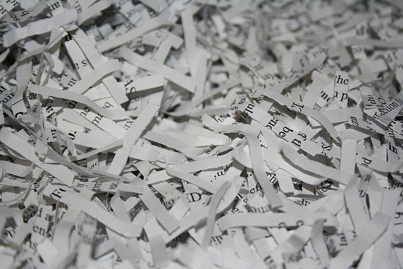 Shredded paper (Wikimedia Commons)