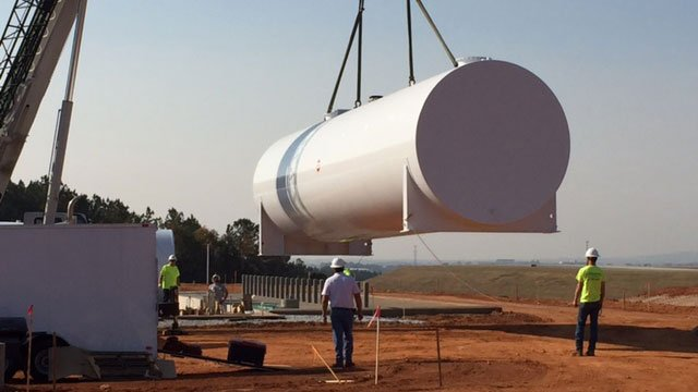 Fuel tanks being installed at GSP Airport. (Nov. 16, 2016/FOX Carolina)