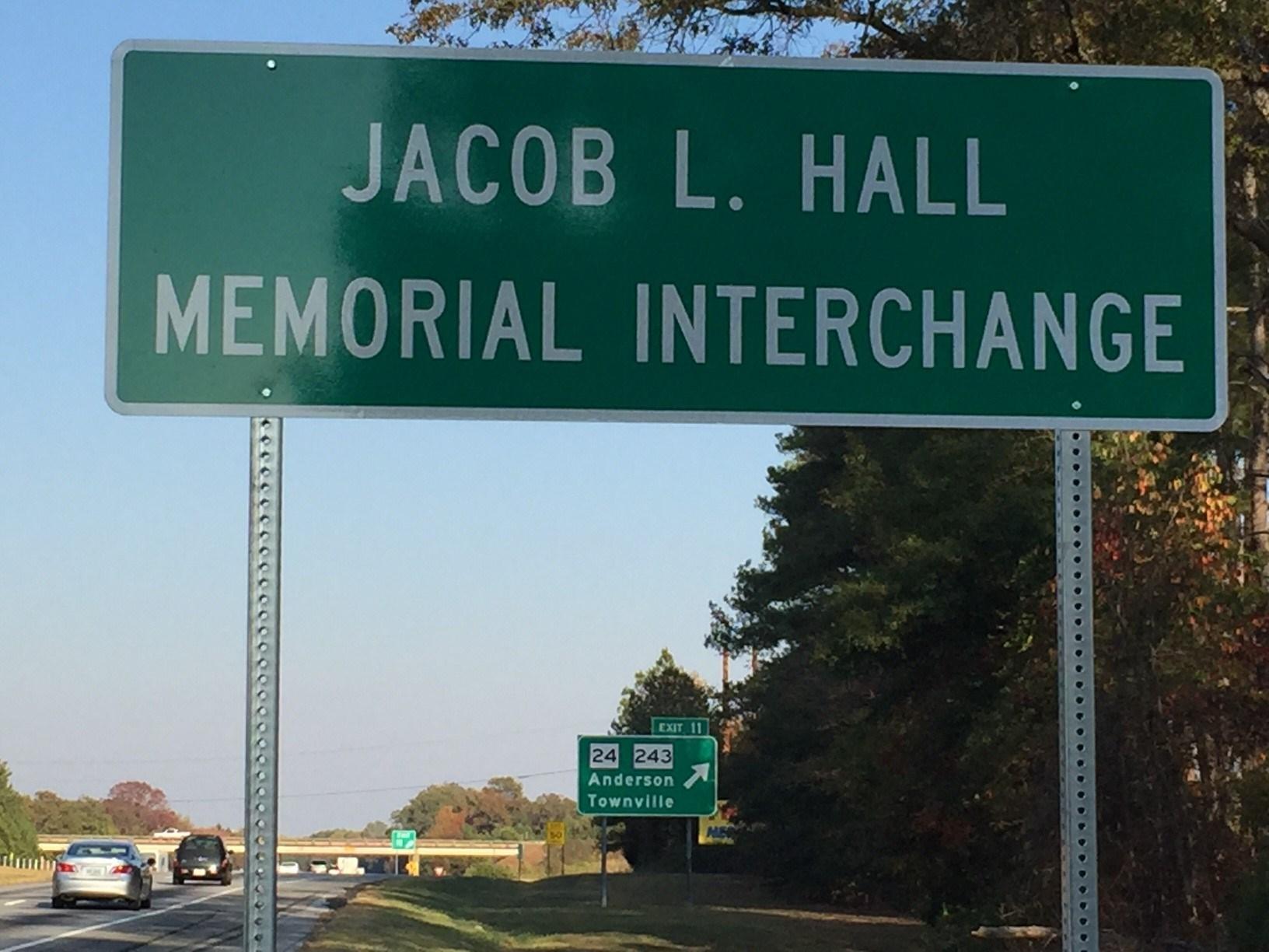 Jacob Hall Memorial Interchange (Nov. 16, 2016/FOX Carolina)