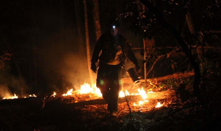 A firefighter uses a drip line during backburn operations on Pinnacle Mountain (Courtesy: SC Forestry Commission)