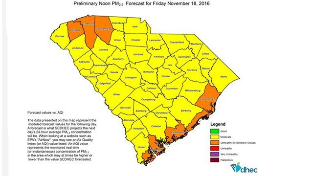 Preliminary SC air quality forecast for Friday November 18, 2016. (Source: SCHSL)