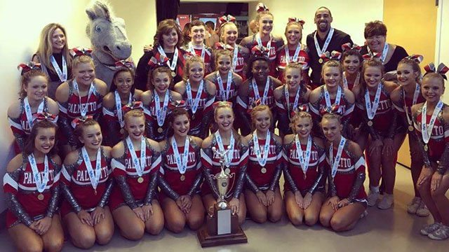 Palmetto High School Varsity cheerleading squad took the win at the 3A State Championship on Saturday. (Source: iWitness)