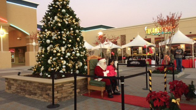 Families and shoppers gathered at Magnolia Park shopping center Sunday for the shopping center's first annual tree lighting and holiday event. (FOX Carolina/ 11/20/16)