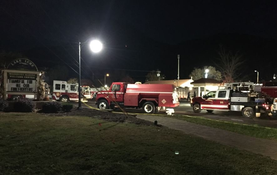 Fire crews at Lake Lure (FOX Carolina)