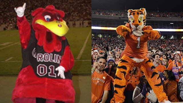 "Gamecock's mascot ""Cocky"" (Source: Gamecocks website) Clemson Tiger's mascot (Source: AP Images)"