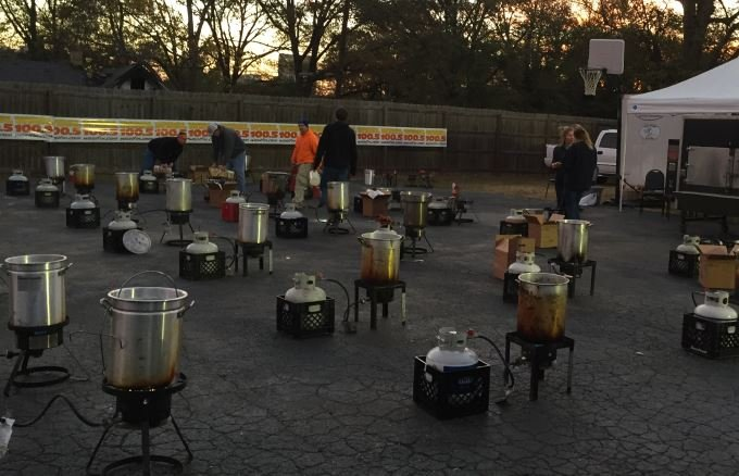Turkey fryers set up for the annual turkey dry event (FOX Carolina/ Nov. 22, 2016)