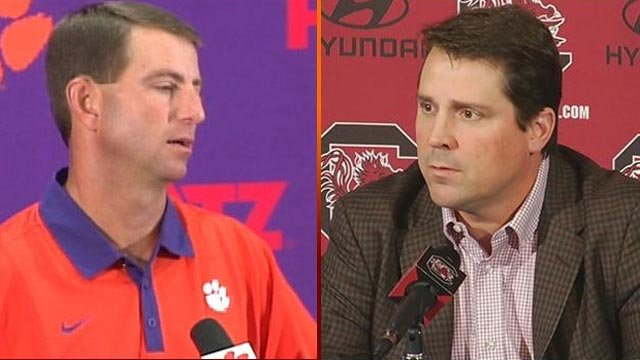Dabo Swinney (left) and Will Muschamp (File)
