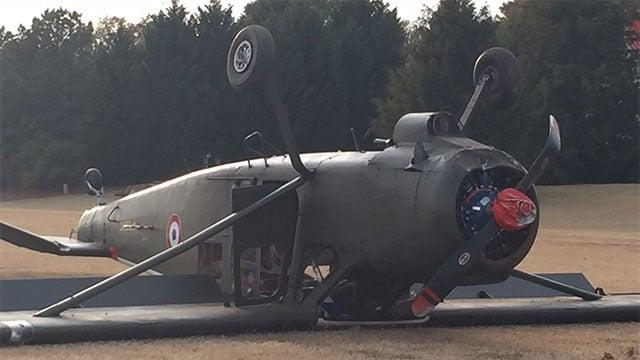 World War II aircraft found upside down. (Nov. 22, 2016/FOX Carolina)