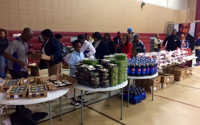 Supplies for the feast at the Phyllis Wheatley Community Center (Nov. 22, 2016/ FOX Carolina)