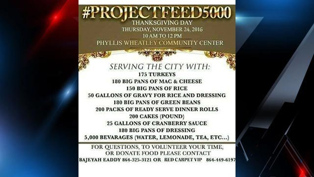 #PROJECTFEED5000 plans to feed 5K people Thanksgiving meals. (Source: #ProjectFeed5000)