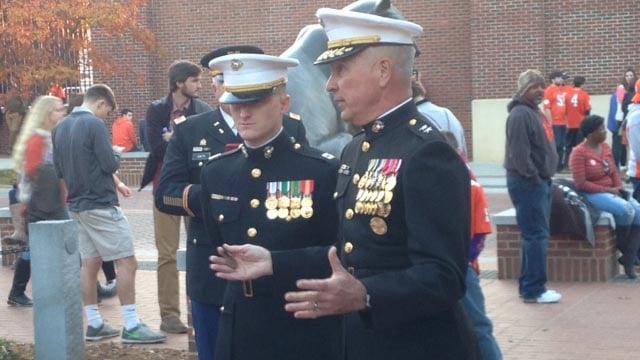 Citation for Marine captain before Clemson-USC game. (November 26, 2016 FOX Carolina)