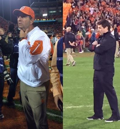 Clemson head coach Dabo Swinney (left) and USC head coach Will Muschamp (FOX Carolina)