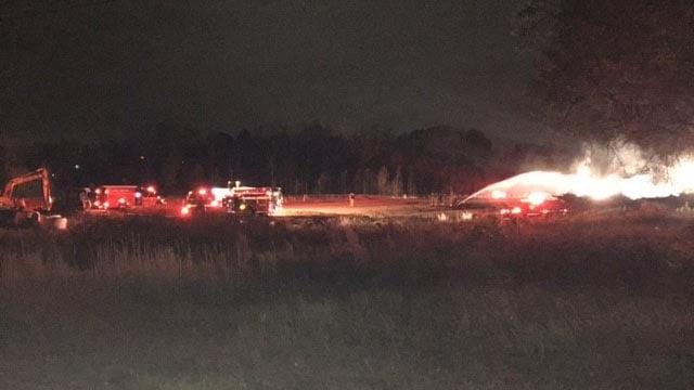 Multiple fire units on scene of wood fire in Simpsonville. (November 29, 2016 FOX Carolina)