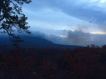 Smoke rises from the fire in Gatlinburg (Courtesy: Smoky Mountains National Park)