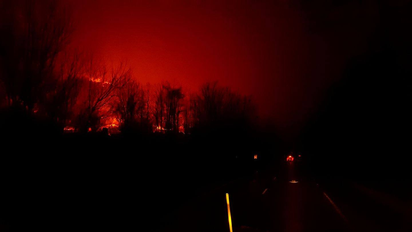 Glow from the fire overnight in Gatlinburg (Courtesy: Smoky Mountains National Park)