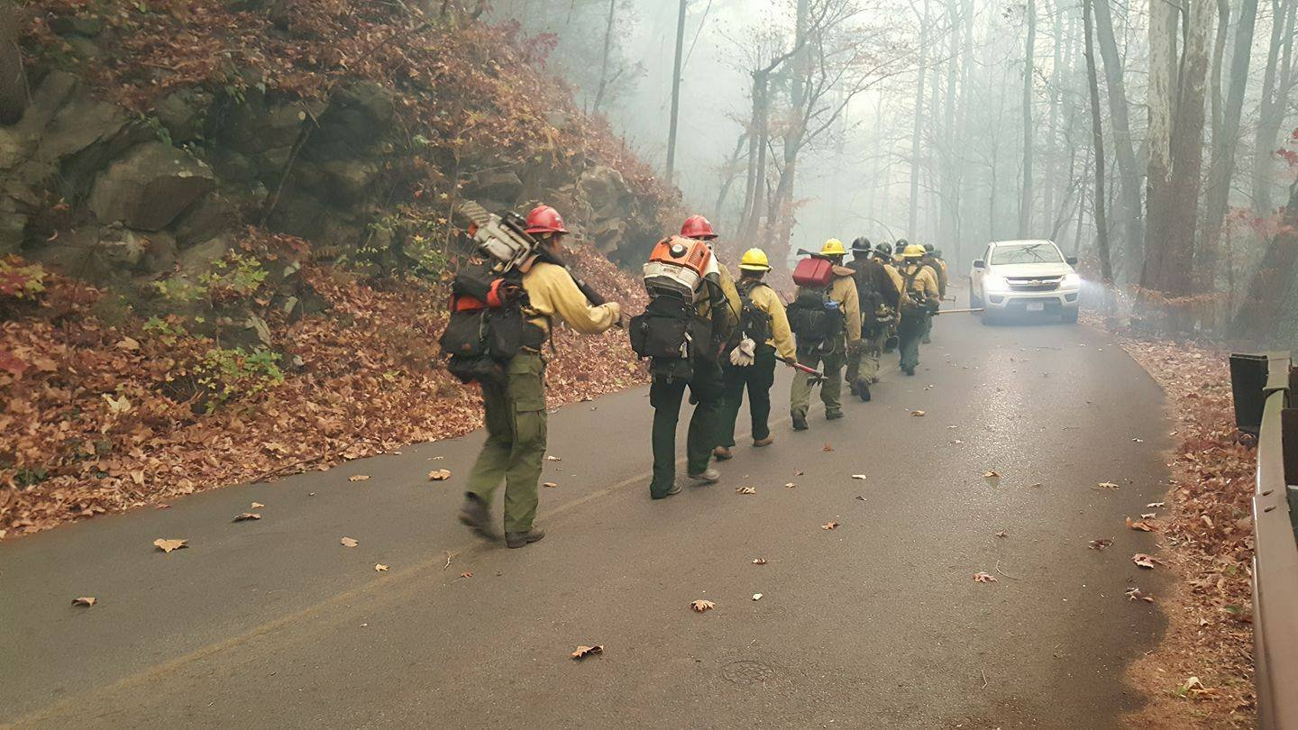 Firefighters travel on foot to fight the fires (Courtesy: Smoky Mountains National Park)