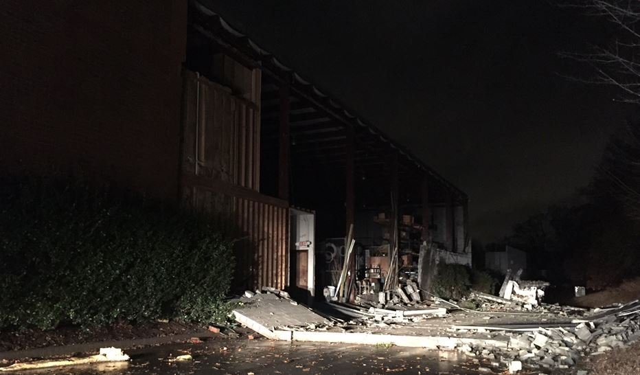 Concrete wall collapsed at Bailey Heating & Air (FOX Carolina/ Dec. 1, 2016)