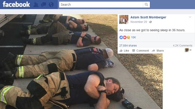 Photo of resting firefighters goes viral (Courtesy: Adam Momberger/ Facebook)