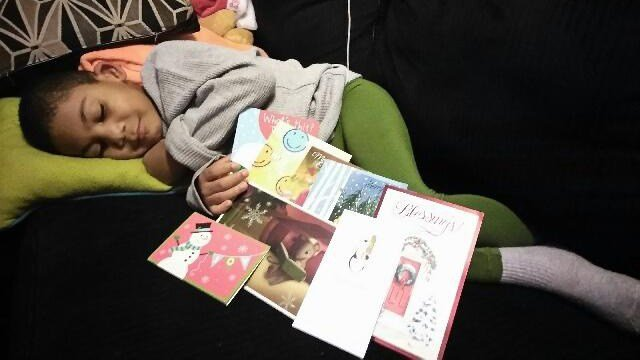 Brayden with cards he received from the community. (Dec. 1, 2016/FOX Carolina)