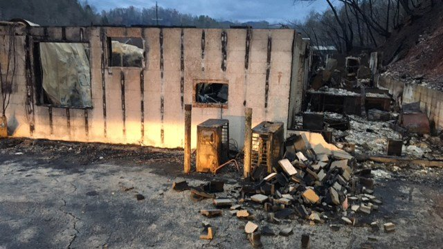 Statue of Jesus survives after home destroyed by Gatlinburg wildfire. (FOX Caroliana/ 12/1/16)