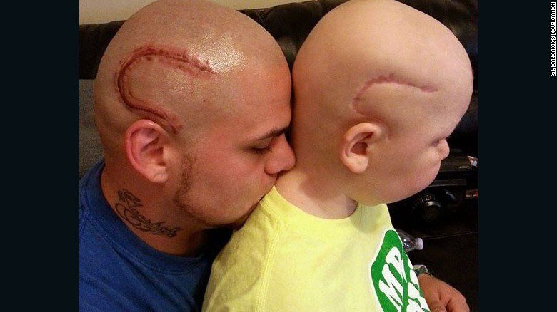 Josh Marshall got this tattoo to support his son, Gabe (Source: St. Baldrick's)