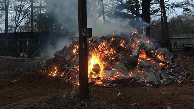 Belton home destroyed by fire. (December 27, 2016 FOX Carolina)