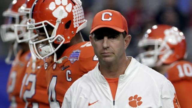 Clemson head coach Dabo Swinney on the field before kickoff (AP photo)