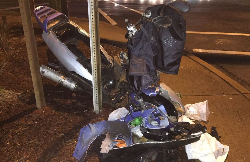Photo of the damaged moped (FOX Carolina/ Jan. 11, 2017)