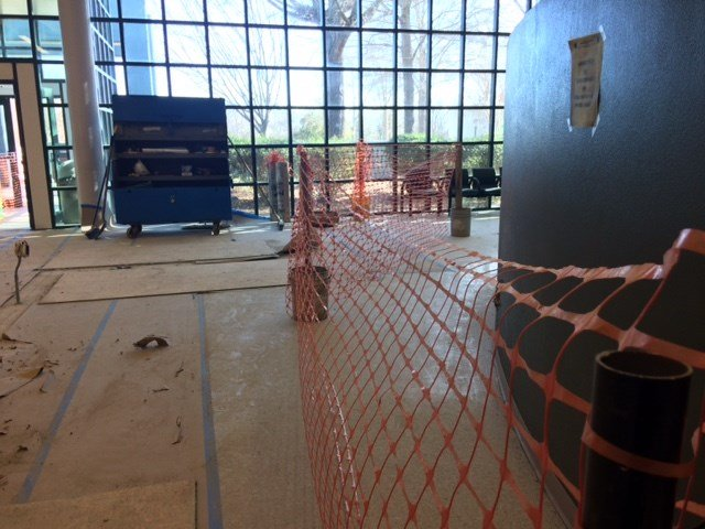 The lobby of the detention center is also being remodeled to provide tighter security for officers and the public (FOX Carolina)