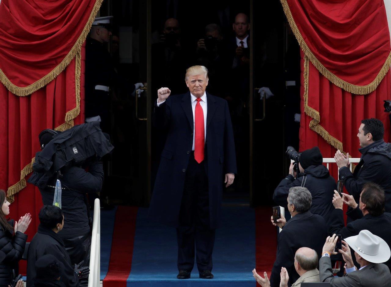 President Donald Trump at his inauguration (AP image)