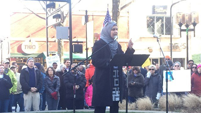 Rally held for Islamic Society in downtown Greenville. (FOX Carolina/2/4/17)