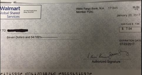 Photo of a fake check (Courtesy:Ashwaubenon Public Safety)