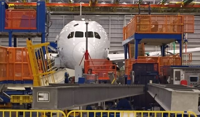 A 787-10 being built at the Boeing plant in Charleston (FOX Carolina/ 2-17-2017)