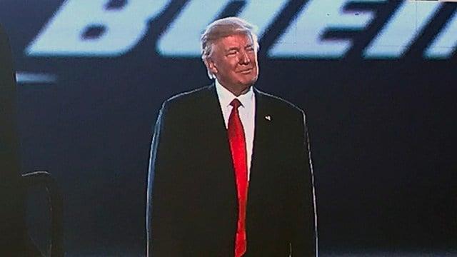 Pres. Trump addresses crowd at Boeing. (Feb. 17, 2017/FOX Carolina)