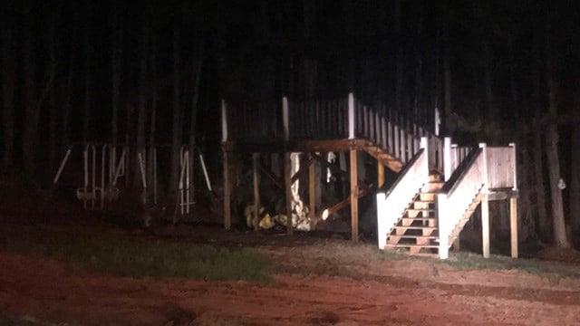Family's playset burns after fire pit blaze spreads to backyard. (FOX Carolina/ 2/19/17)