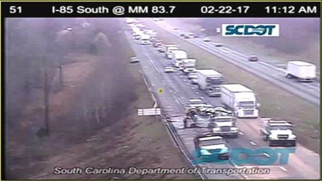 Scene of crash involving jack-knifed tractor trailer and fuel spill along I-85 at mm 83. (FOX Carolina/ 2/22/17)