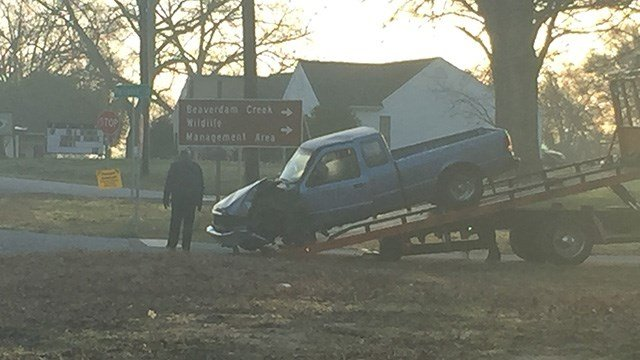 Vehicle behind towed away from scene of Anderson Co. crash. (FOX Carolina/ 2/23/17)