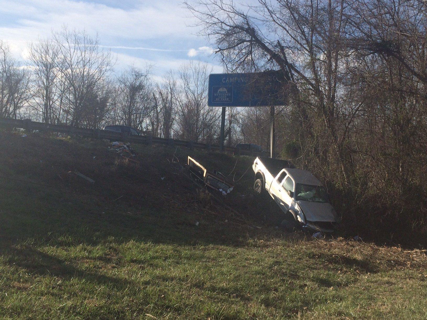Truck in ravine on I-26 (Feb. 24, 2017/FOX Carolina)