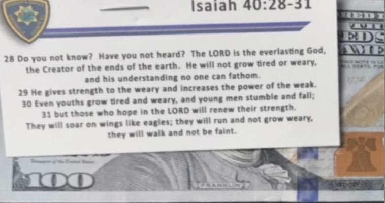 Each bill given out had this passage of scripture attached to it. (FOX Carolina)