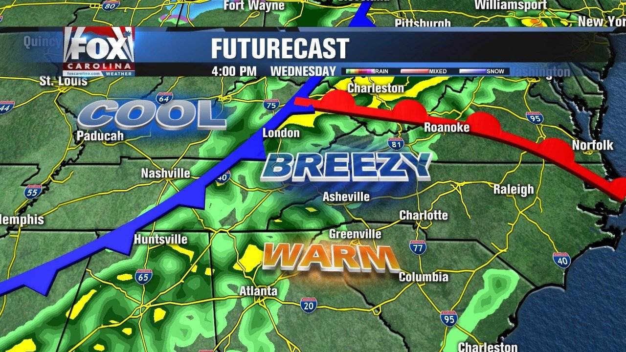 Cold front Wednesday bring storm chance.