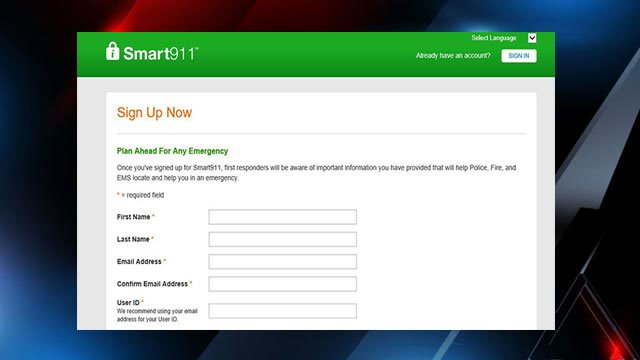 Smart911 registration page (Source: Smart911 webpage)