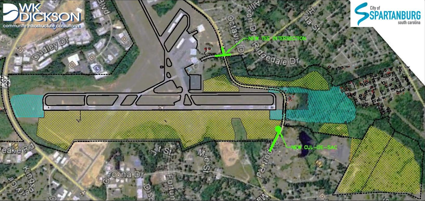 Map of airport runway expansion project area (Courtesy: City of Spartanburg)