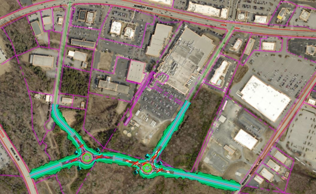 The proposed new road is outlined on this map (Courtesy: city of Greenville)