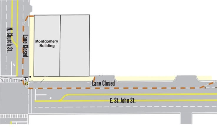 Montgomery Building sidewalk closures (Courtesy: City of Spartanburg)