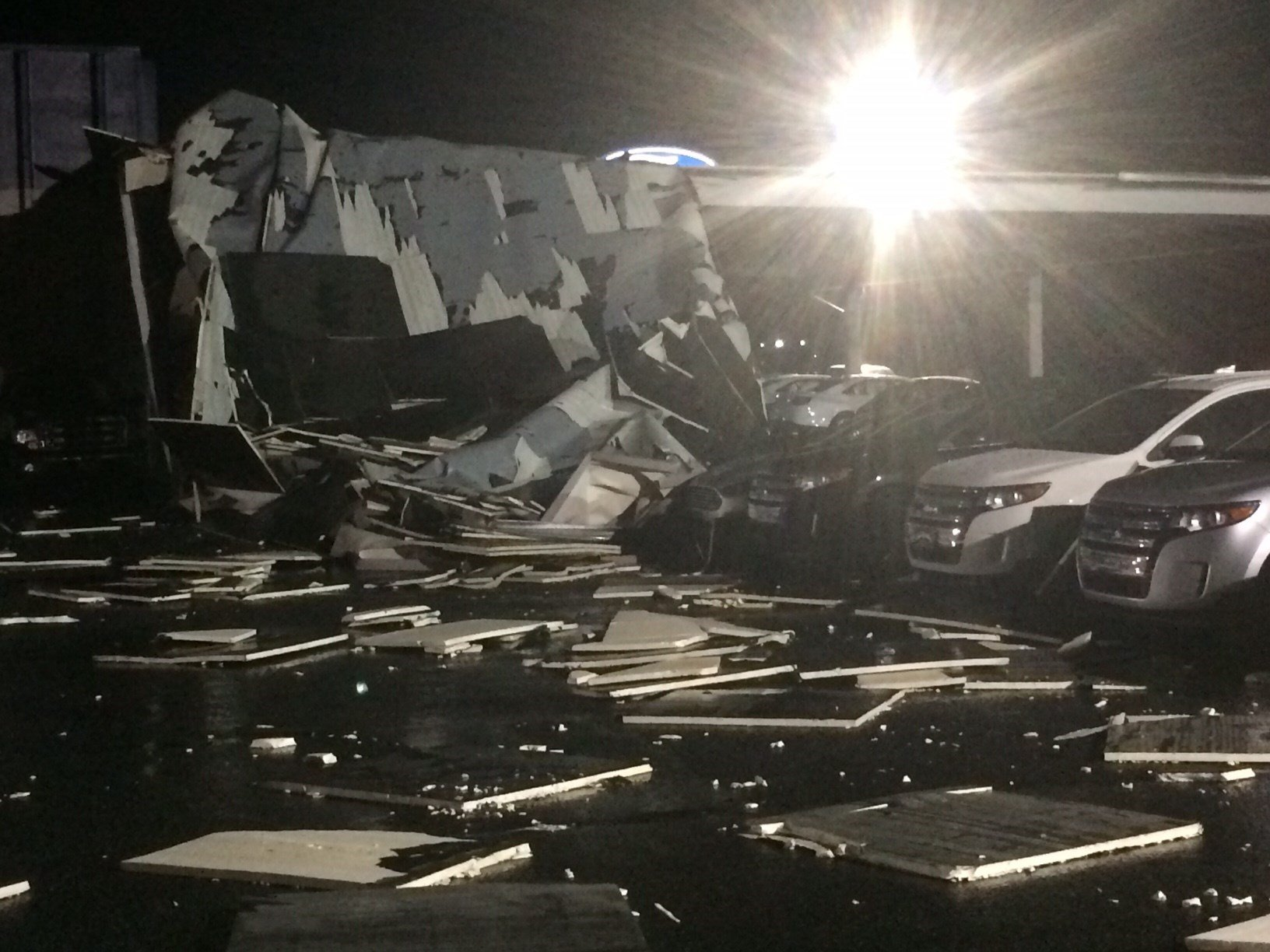 Damage at Sisk Family Ford (March 1, 2017 FOX Carolina)